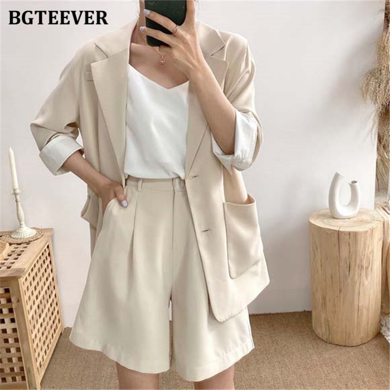 BGTEEVER Elegant Two-piece Women Blazer Suit Pockets Female Blazer Shorts Set 2020 Summer Office Ladies Short Pant Suits 2020