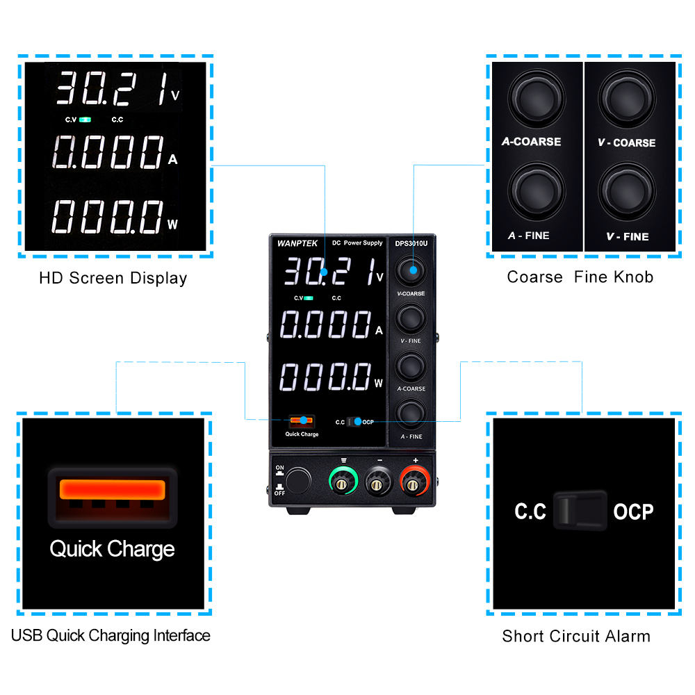 Wanptek DPS3010U 305U 605U switching DC power supply adjustable 4 digit lab Bench power source 30V 10A 30V 5A 0.01V 0.001A AC-4