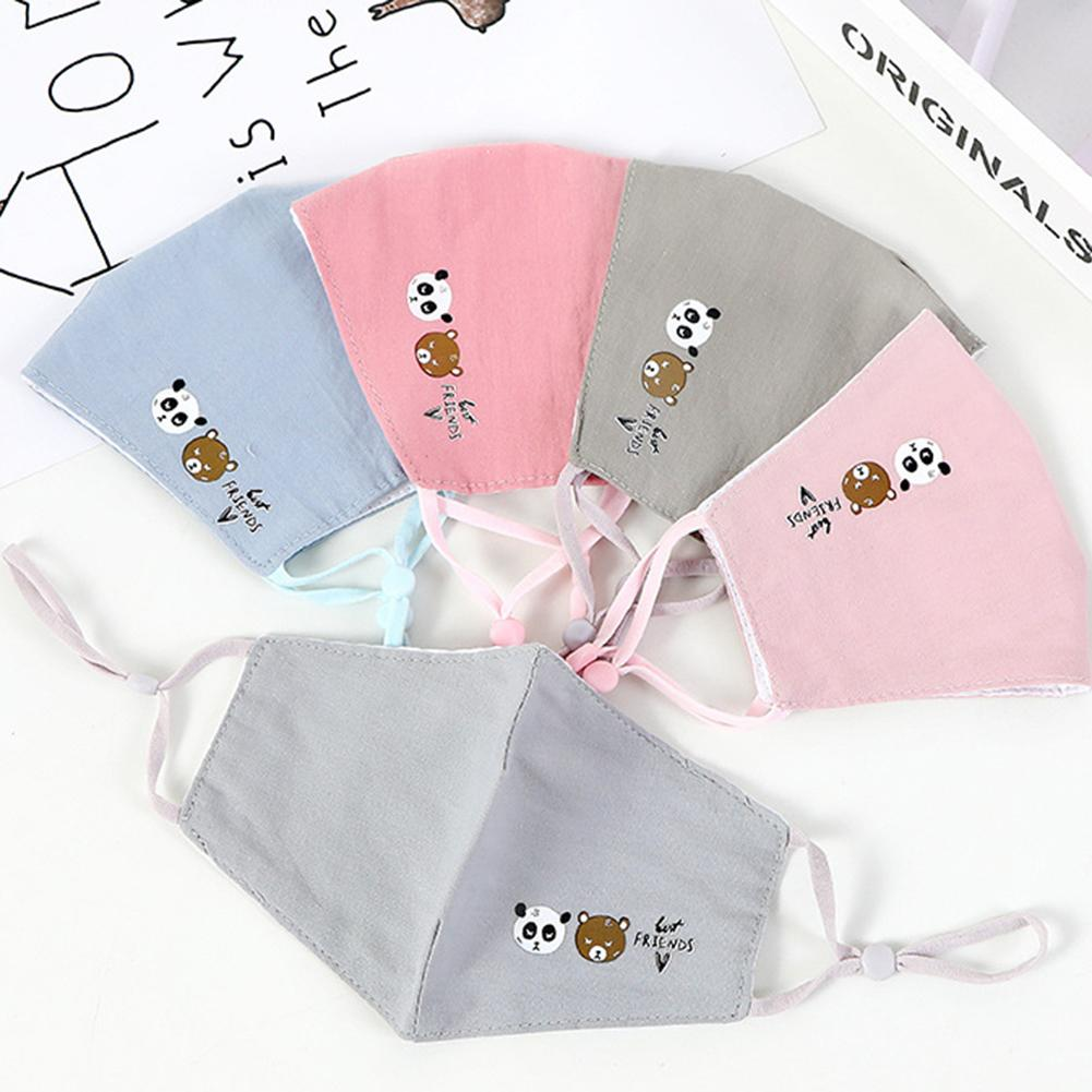 5Pcs Children Cartoon Washable Breathable Cotton Anti Haze Dustproof Mouth Mask Wind And Dust Resistance Against Viruses