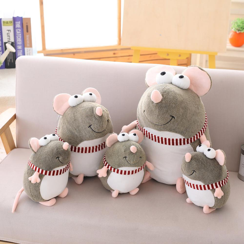 1pc 18-45cm Lovely Fat Grey Rat Dolls Stuffed Animal Plush Toys For Girls Children Boys Toys Cute Mouse Pillow  Sofa Doll