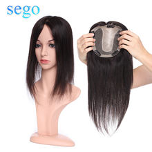 SEGO 15x16cm Human Hair Topper Wig For Women Breathable Silk Base With Clip In Hair Toupee Non-Remy Hairpiece Natural Color(China)