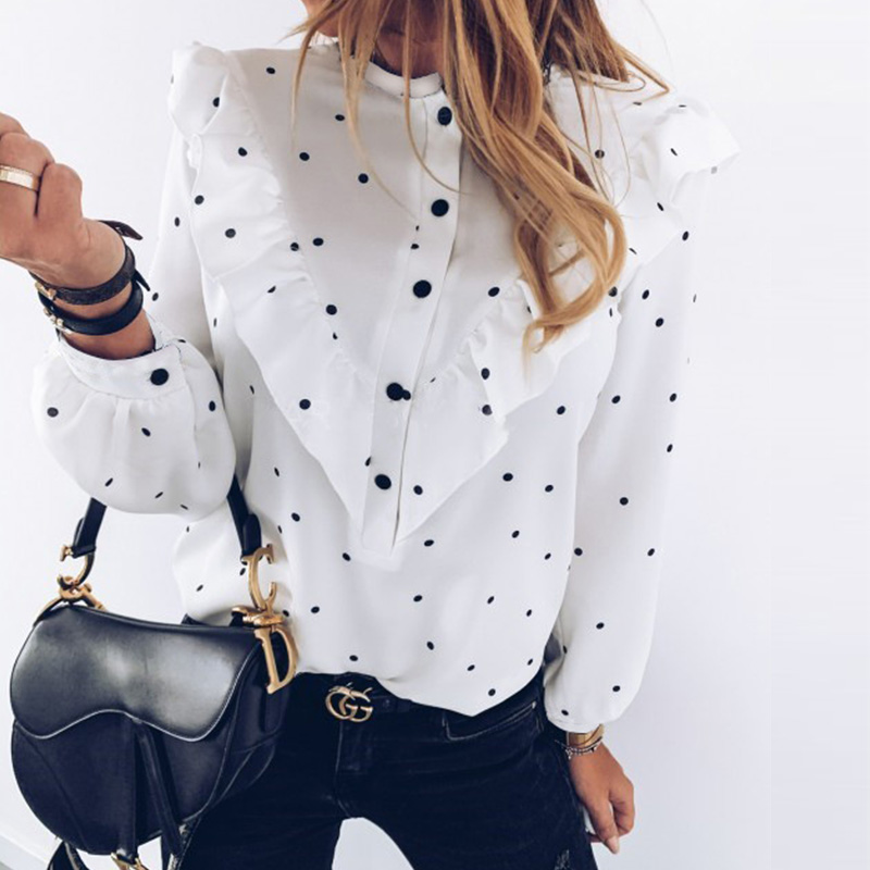 H8d15e89a6d254e75aca891d3715e1a57p - Lady Autumn Long Sleeve Polka Dot Ruffle Blouse Shirt Elegant Casual O Neck Buttons Pullover Women Spring streetwear Tops