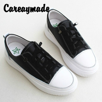 Careaymade-Genuine Leather flat soft and thick soled women's sports casual shoes,pure handmade small white single board shoes
