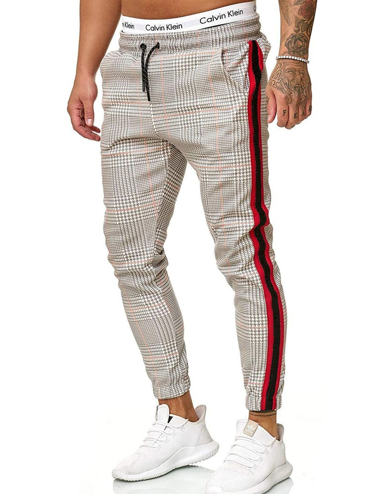 Casual Mens Chinos Cotton Slim Fit Men Pants Trousers Skinny Chinos Pants Grey Ankle  Stretch Pant Plaid Side Stripe S-3XL