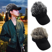New Sale Unisex Fake Hair Visor Hat Golf Wig Cap Adjustable Party Custome Hat for Women Men(China)