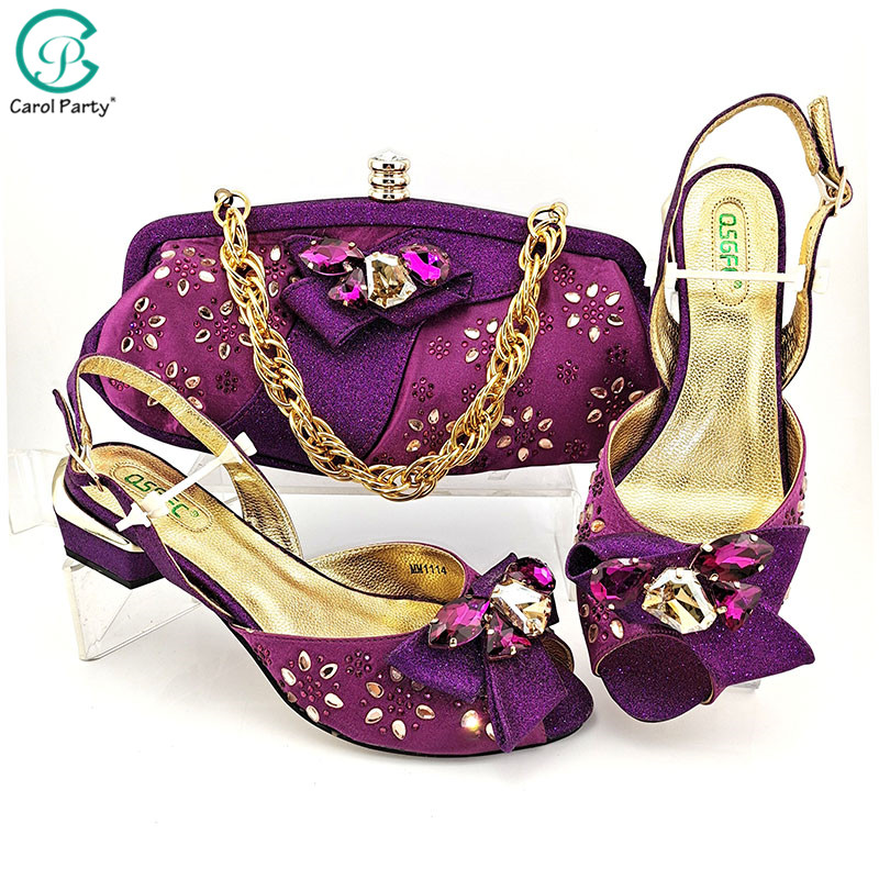 2020 New Design Magenta Mid Heel Italian Design  Women Shoes And Bag To Match African Style Matching Shoes And Bag Set For Party