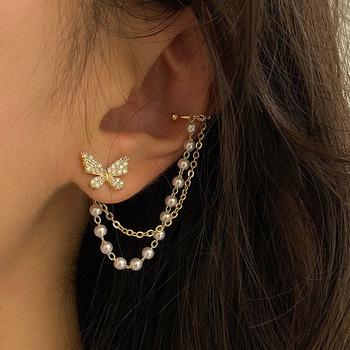 Nowy koreański elegancki śliczny Rhinestone motyl stadniny kolczyki dla kobiet dziewczyn moda metalowy łańcuszek biżuteria Boucle D #8217 oreille tanie i dobre opinie Ze stopu cynku CN (pochodzenie) TRENDY E455d kolczyki wiszące Bowknot Kobiety