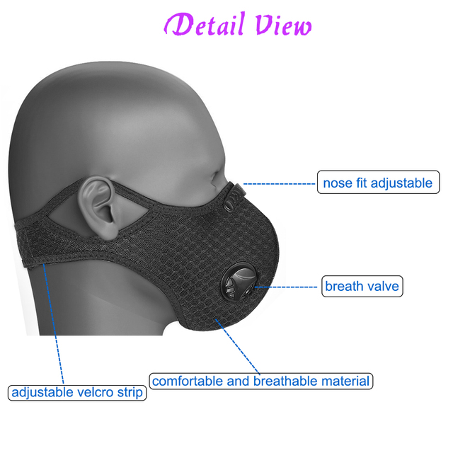 Sports/cycling mask flu facial masks anti pollution mask for running 95 level replaceable filter 4