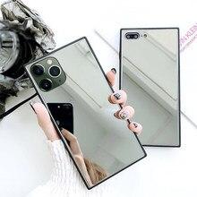 Espejo cuadrado de cristal caso para iPhone 12 Pro Max 12 mini 11 Por XS Max SE 2020 6 6S 7 7 Plus X XR caso de silicona suave cubierta de parachoques