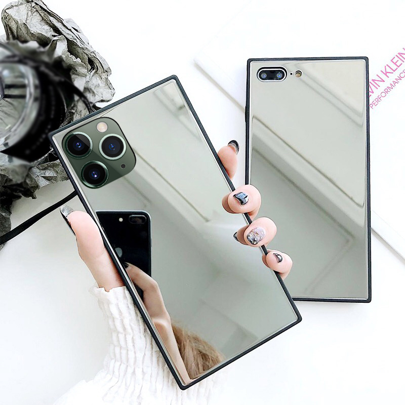 YISHANGOU, carcasa trasera cuadrada de cristal espejado para iPhone 11 SE 2 2020 6 6S 7 8 Plus X XR XS Max, carcasa de teléfono, funda de silicona blanda para parachoques