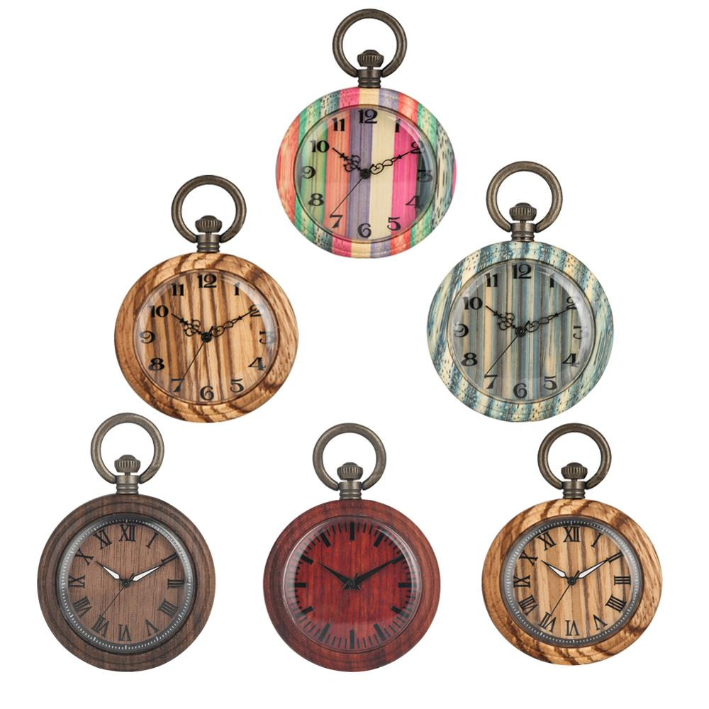 Retro Wooden Pocket Watch Hanging Clock Quartz Movement Creative Bronze Thick Chain Necklace Pendant Clock Dropshipping 2019