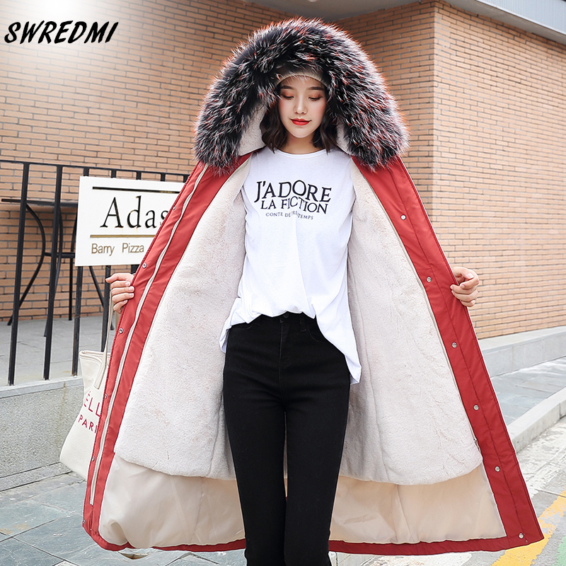 SWREDMI Women Jacket Winter 2019 Fur Lining Winter Long Parka Coat Thick Warm Winter Coat Snow Wear Causal Hooded Parka Jacket