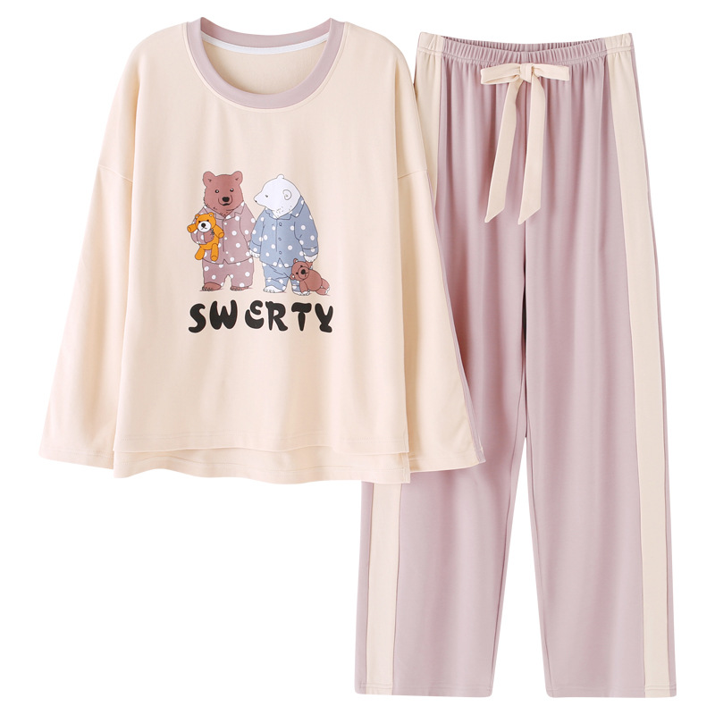 C22008 # Couples White Brown Bear Pullover LZ High Quality Pure Cotton Long Sleeve Pajamas Homewear Set Series