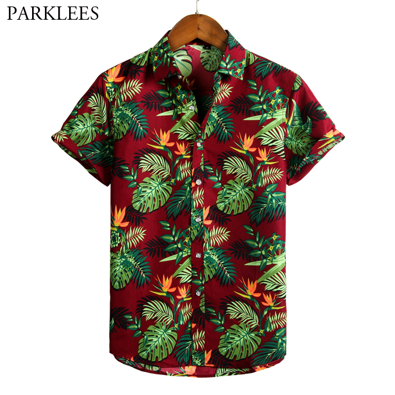 Retro Floral Printed Mens Hawaiian Shirt 2020 Vintage Summer Shirts For Men Casual Button Beach Holiday Short Sleeve Short Male