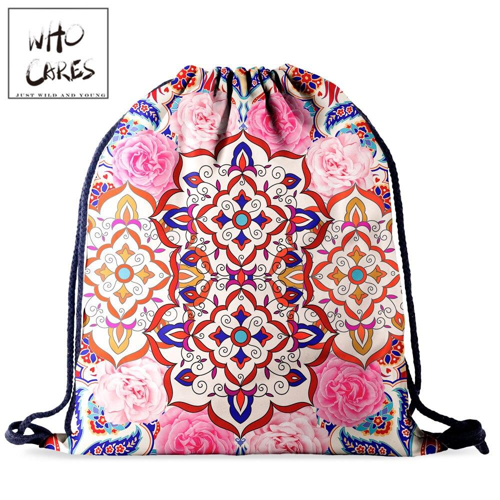 Who Cares Natural Flower Drawstring Bag Gym Mochila Backpack Women Waterproof Travel Mandela 3D Printing Girl Draw String Bags