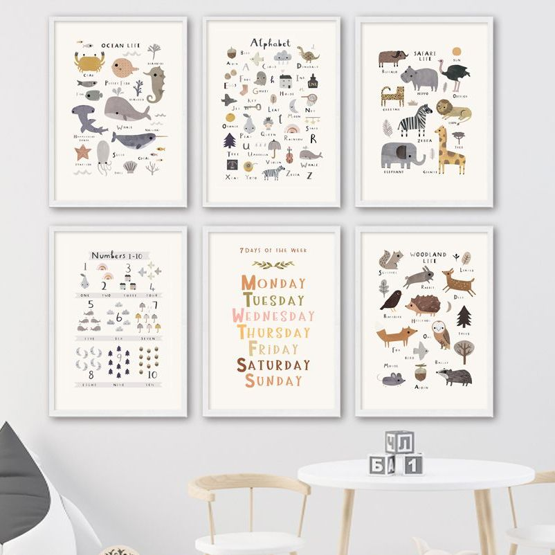 Ocean Animals Fish Art Canvas Painting Enlightenment Nordic Posters And Prints Alphabet Number Wall Pictures For Kids Room Decor
