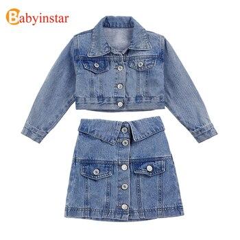 Babyinstar Boutique Denim Jacket and Skirts 2pcs Sets for Girls Jacket Back with Sequin Smile Letter Fashion Girls Jeans Suits