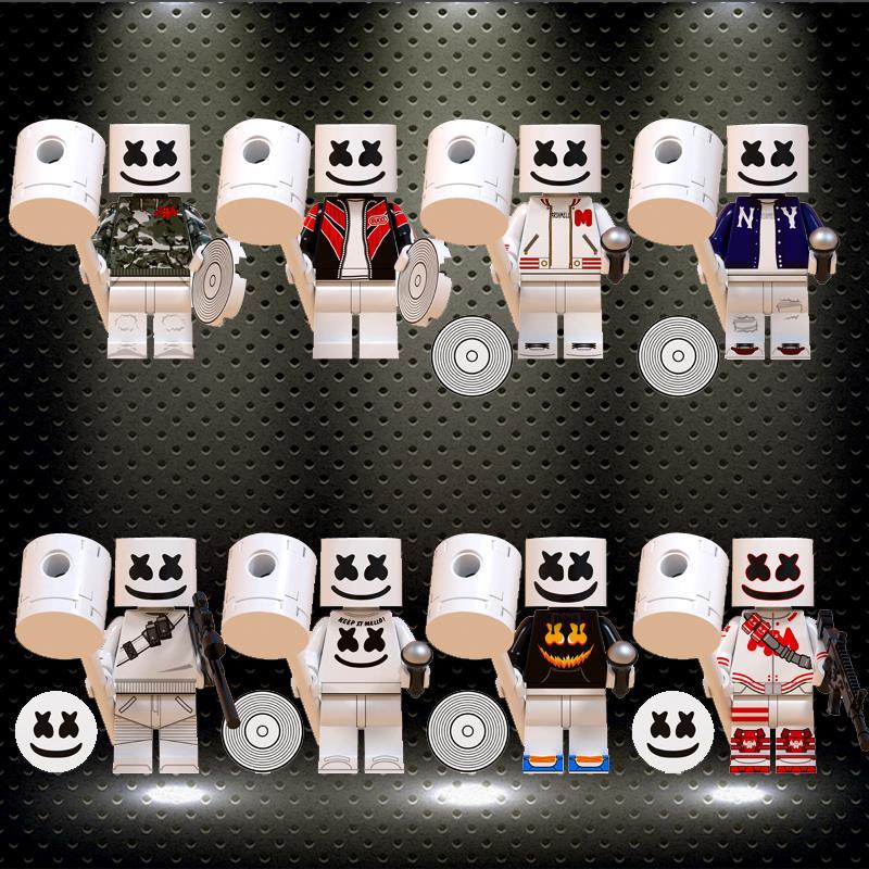 Ing Building Blocks Bricks Famous DJ Marshmellow AIM Agent Action Figures Toys Collection For Children Model WM6064