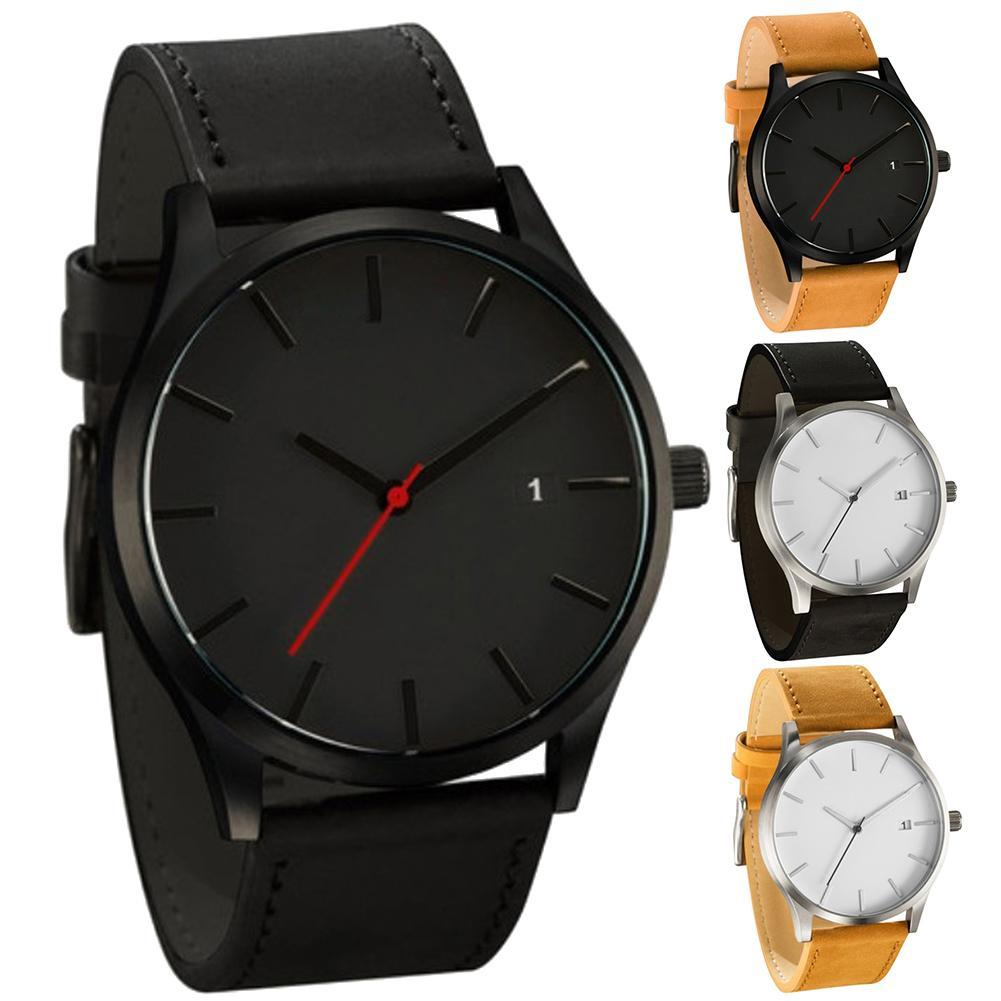 2019 Fashion Leather Strap Dial Men's Watch Analog Quartz Wrist Watch Reloj Hombre Casual Black Sport Watch Relogio  Mas-culino