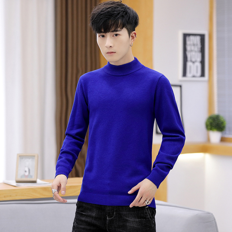 Leisure Simple Men Sweater Beige White Black Red Wine Navy Royal Blue Mens Sweaters Pullovers Casual Long Sleeve