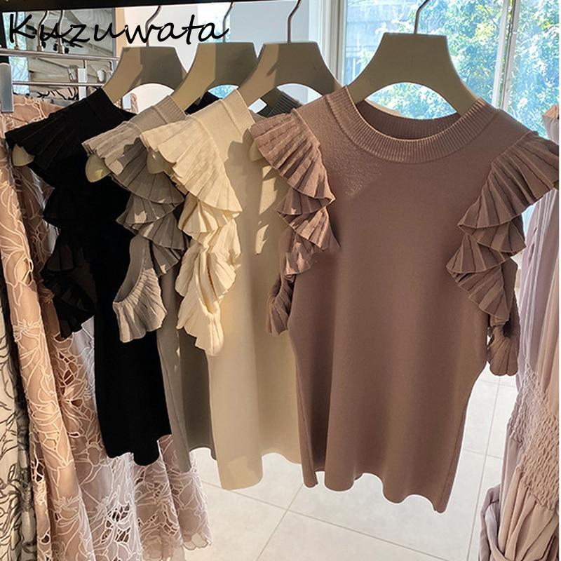 Women Tops Blouses Sweet-Shirts Knitting Temperament Japanese Kuzuwata Ruffles Off-Shoulder