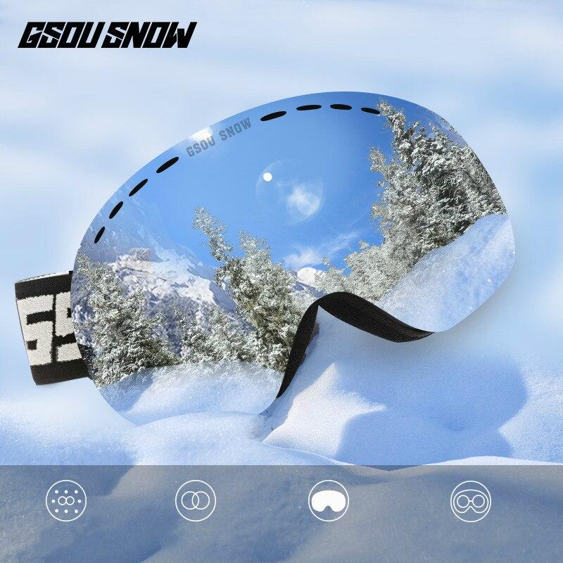 GSOU neige Ski lunettes Double couches UV400 Anti-buée grandes lunettes de Ski hommes femmes snowboard Ski lunettes avec paquet