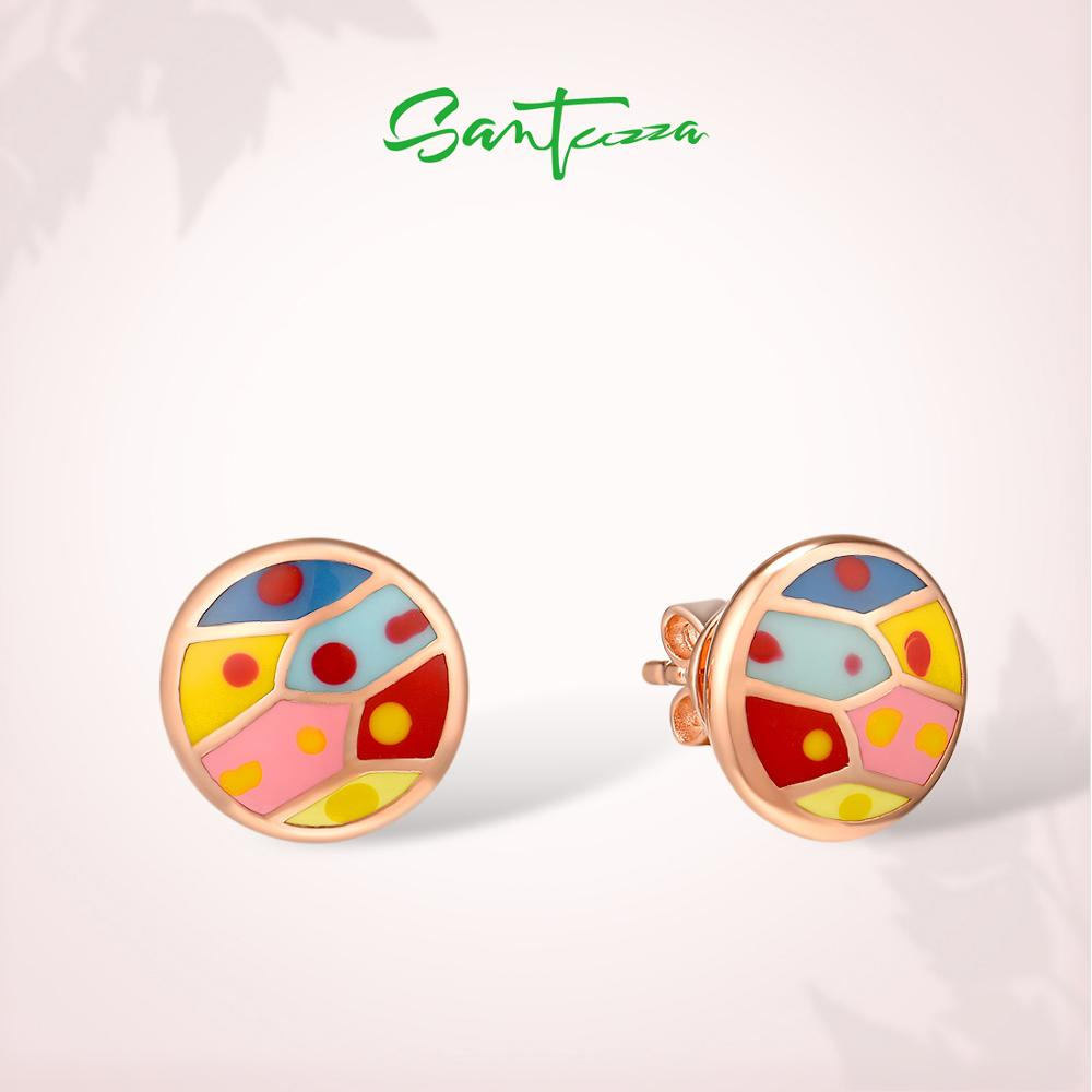 SANTUZZA Silver Earrings For Women Pure 925 Sterling Silver Colorful Sparkling Stones Enamel Earrings Elegant Fine Jewelry
