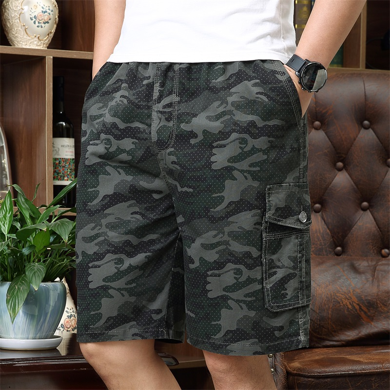 Mens Military Cargo Shorts Summer Army Green Cotton Shorts Men Loose Multi-Pocket Shorts Homme Casual Bermuda Trousers 5XL