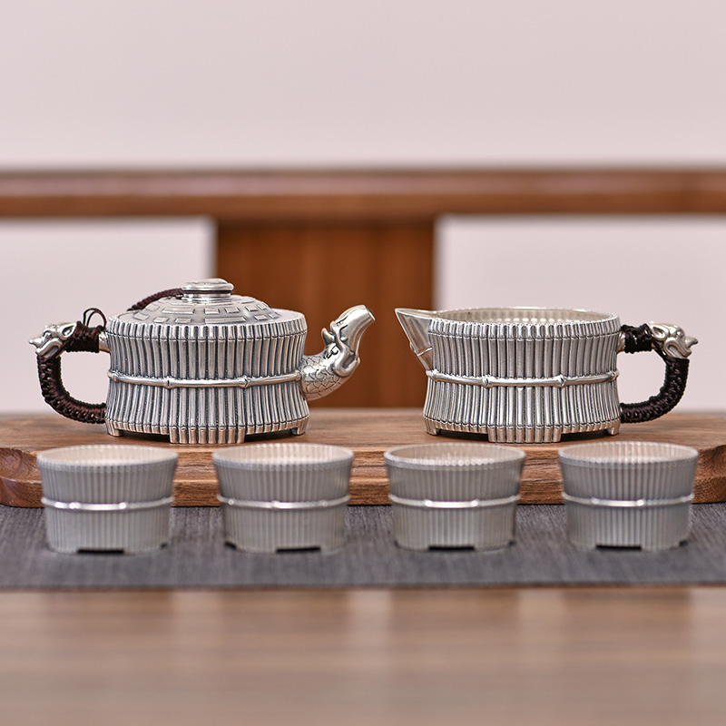Silver Tea Set Sterling Silver 999 Bamboo Kung Fu Tea Set Office Sterling Silver Tea Set Kung Fu Tea Cup