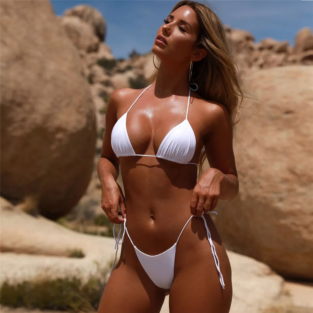 2020 Knot Solid Bikini Set Women Swimming Adjustable Swimwear Sexy Bikinis Swimsuit Biquini Female Beachwear Female Bathing Suit