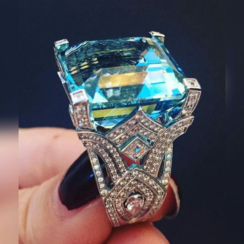 2019 Fashion Female Big Square Blue Stone Rings Ethnic Exaggerated Acrylic Rings For Women Party Gift