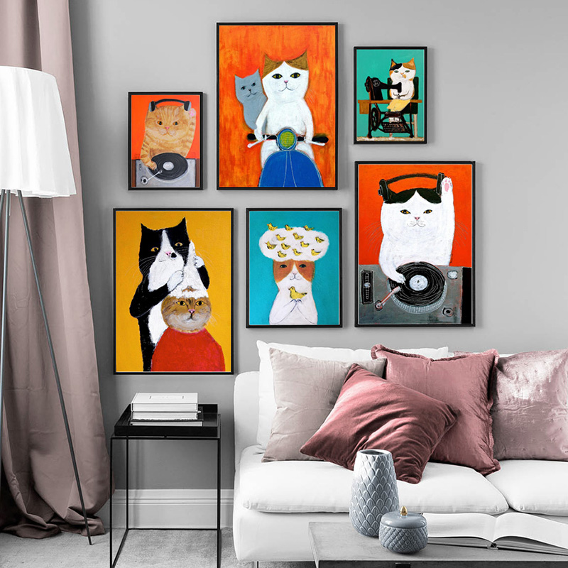 Cartoon Cute Cat Modern Posters And Prints Canvas Painting Wall Picture For Living Room Kid's Bedroom Home Decor Nursery
