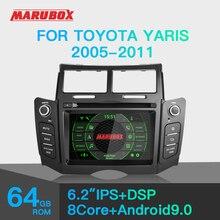 "Marubox KD6221 רכב נגן DVD עבור טויוטה יאריס 2005 2011, 6 ""מסך IPS עם DSP, GPS ניווט, Bluetooth, Wifi, אנדרואיד 9.0"