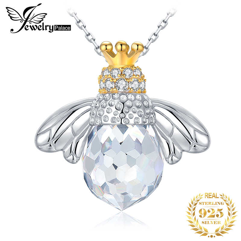 JPalace Bee Crown Silver Pendant Necklace 925 Sterling Silver Choker Statement Necklace Women Silver 925 Jewelry Without Chain