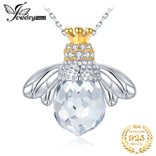 JPalace Bee Crown Silver Pendant Necklace 925 Sterling Silver Choker Statement Necklace Women Silver 925 Jewelry Without Chain jewelrypalace authentic 925 sterling silver pendants necklace crown wings honey bee pendant without chain cubic zirconia jewelry