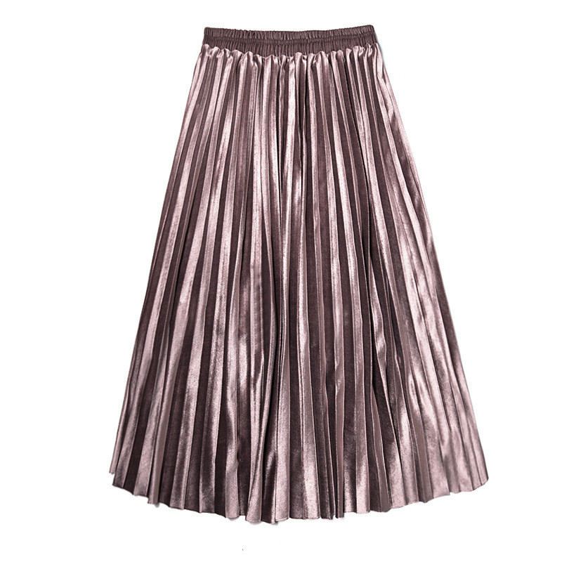 High-Waist Skirts Women Metallic Champagne Pleated Women Party Skirts Fashion Vintage Modern Large Size 3XL Office Women's Skirt