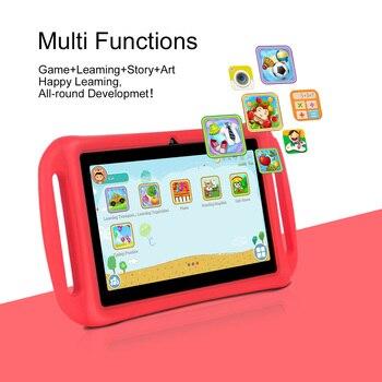 Tablet educativa de 7 pulgadas para niños, Tablet de 7 pulgadas HD con carcasa de silicona con carga USB Quad Core 1 GB 1