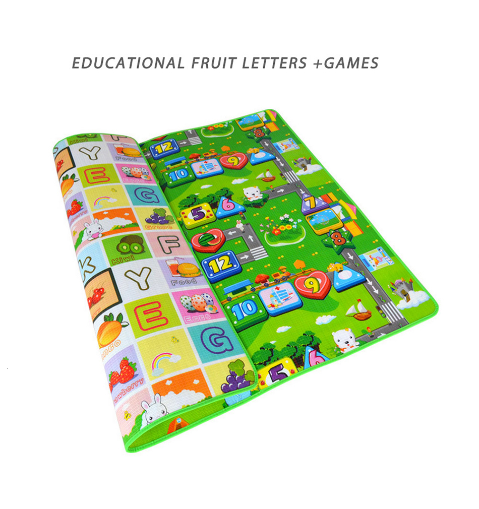 H8d176d2023a642c595105d7ff43b6130P Baby Play Mat 0.5cm Thick Foldable Crawling Mat Double Surface Baby Carpet Rug Cartoon Developing Mat for Children Game Playmat