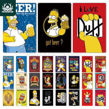 Simpson Poster Duff Beer Metal Sign  Wall Decor for Bar Pub Club Man Cave Decorative Plate