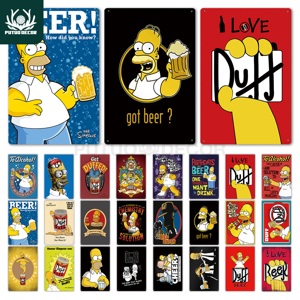 Simpson Metal Poster Duff Beer Metal Sign Funny Sign Wall Decor for Bar Pub Club Man Cave Decorative Plate Wall Decor Tin Sign