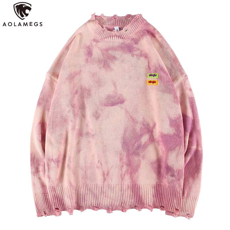 Aolamegs Sweater Men Watercolor Mens Pullover Fashion Broken O-neck Sweaters College Style Knitted Simple Autumn Streetwear