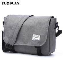 TUGUAN الرجال حقيبة ساع الرجال موضة الأعمال حقائب كتف السفر الإناث قماش حقيبة الرجال حقيبة كروسبودي حقيبة يد XB1701T