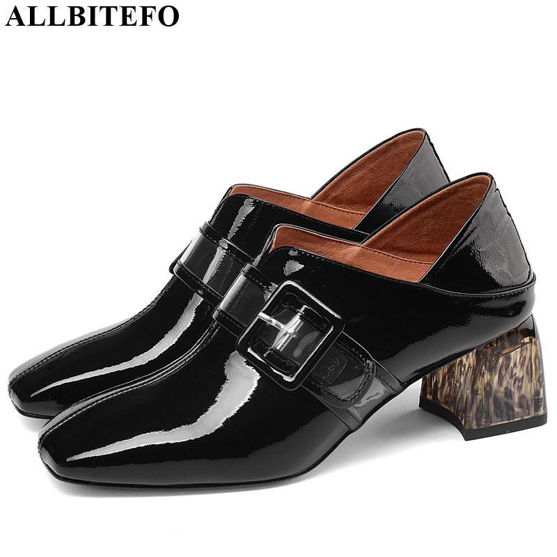 ALLBITEFO High Quality Genuine Leather High Heel Shoes Belt Buckle Square Toe Women Heels Spring Autumn High Heels Comfortable
