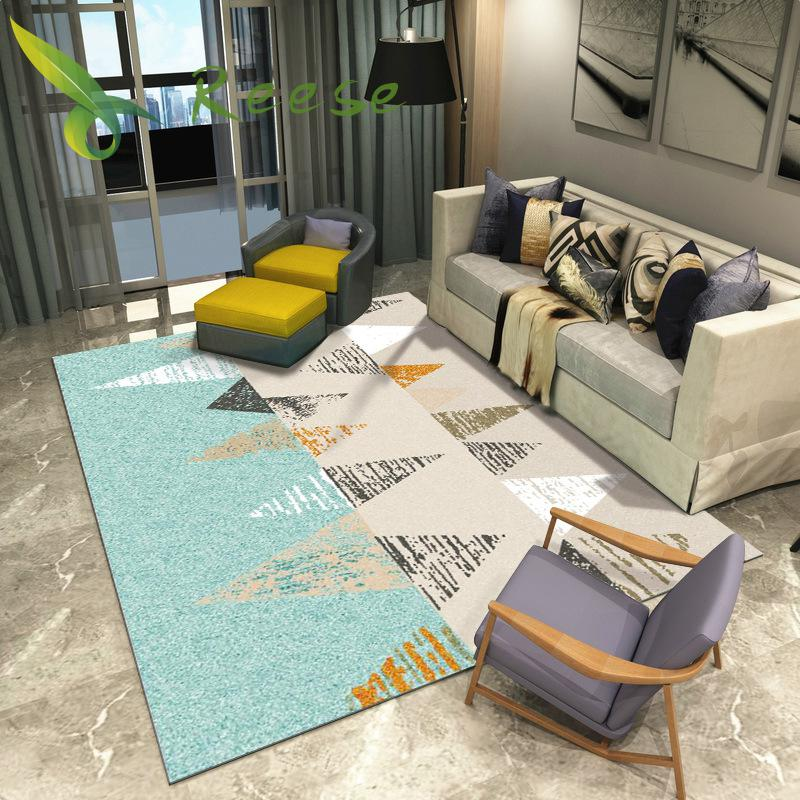 New Customized European Style Simple Geometric Design Living Room Nordic Large Washable Carpet Machine Rug Retro Mat For Bedroom