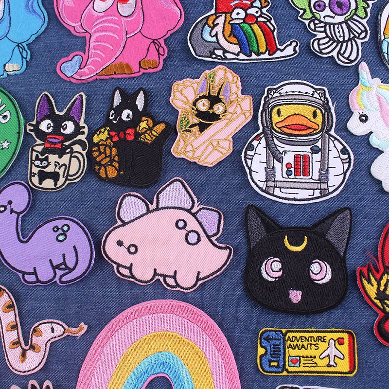 Cute Cat Patches For Clothing Cartoon Dinosaur Iron On Patches On Clothes Cheap Cloth Patch Duck Patches For Clothes Stickers
