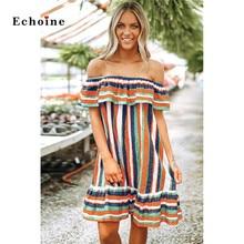 Echoine Evening Party Multicolor Sexy Stripe Dress Women Ruffles Ruched Slash Neck Off The Shoulder Graceful Lady Vestido Outfit women s graceful jewel neck cold shoulder flounce dress