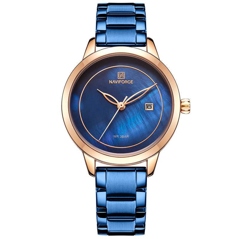 Reloj para mujer de NAVIFORCE, reloj de pulsera de acero inoxidable para mujer, relojes para mujer a prueba de agua, Reloj Simple azul para niña, reloj femenino