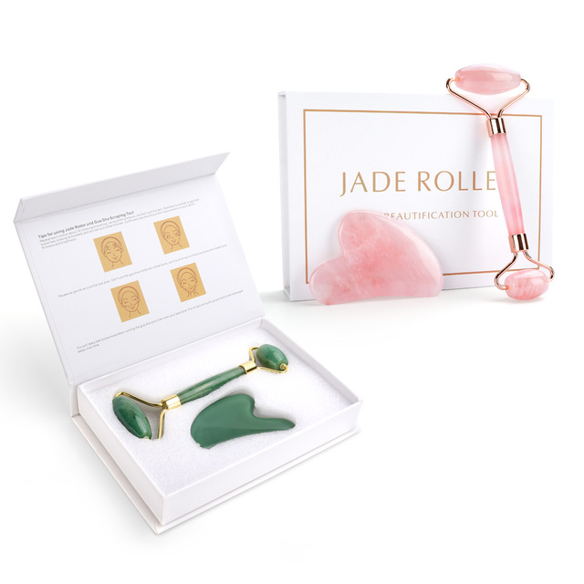 Natural Rose Quartz Jade Roller Facial Eye Body Massager Roller Green Jade Stone Guasha Face Lifting Beauty Massage Roller Tool 5