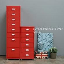 IKayaa — Meuble en métal, 8 tiroirs, 4 roulettes, classeur en acier, armoire détachable et mobile, casiers de classement