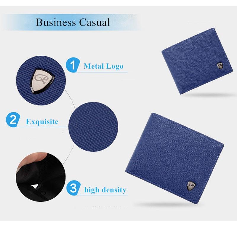 Men Wallets Fashion Solid Color Cross Pattern Open Multi Card Position Wallet Men Leather Purse Men Carteira Billetera Hombre 5